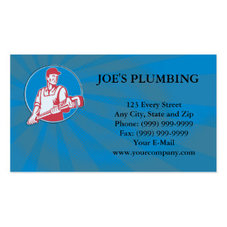 Plumber Worker Monkey Wrench Retro Double-Sided Standard Business Cards (Pack Of 100)