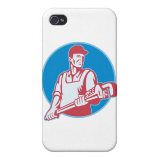 Plumber Worker Monkey Wrench Retro iPhone 4/4S Cases