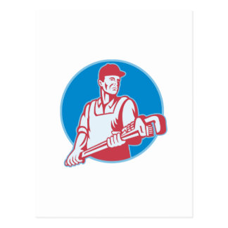 Plumber Worker Monkey Wrench Retro Post Card