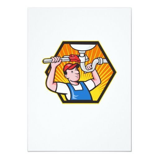 Plumber Worker With Adjustable Wrench 4.5x6.25 Paper Invitation Card