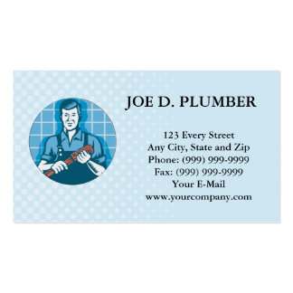 Plumber Worker With Monkey Wrench Retro Double-Sided Standard Business Cards (Pack Of 100)