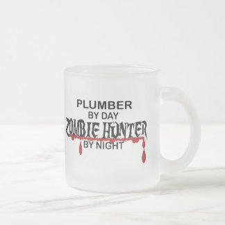 Plumber Zombie Hunter Frosted Glass Coffee Mug