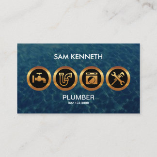 Plumber's Majestic Faux Golden Icons Business Card