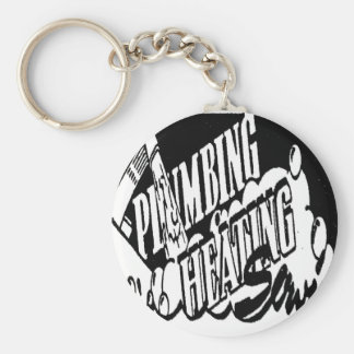 PLUMBING AND HEATING SERVICE BASIC ROUND BUTTON KEYCHAIN