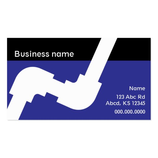 Plumbing business card royal blue and black