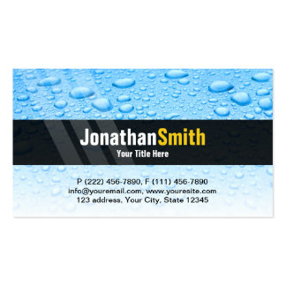 Plumbing business cards blue water drops