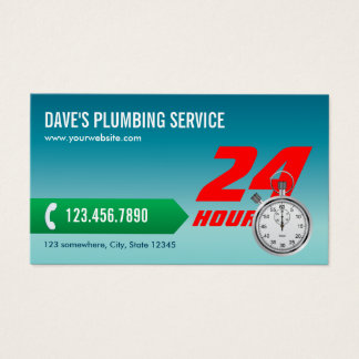 Plumbing Emergency Service Plumber Business Card