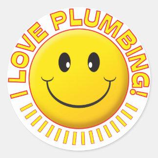 Plumbing Love Smile Round Sticker