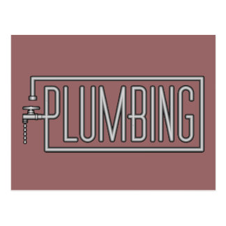 Plumbing - Pipes and Dripping Facet Postcard
