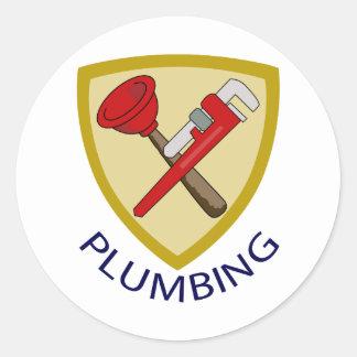 Plumbing Shield Classic Round Sticker
