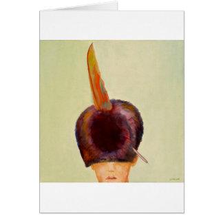 plume dans le chapeau card