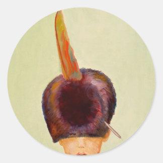 plume dans le chapeau classic round sticker