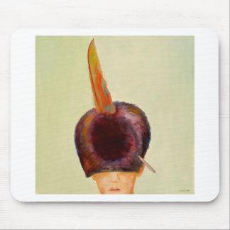 plume dans le chapeau mouse pad