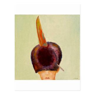 plume dans le chapeau postcard