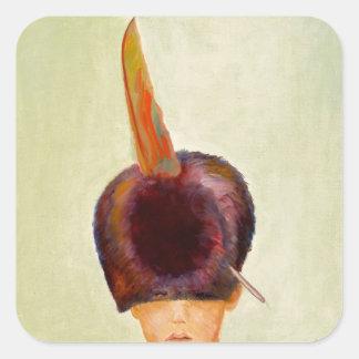 plume dans le chapeau square sticker