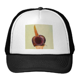plume dans le chapeau trucker hat