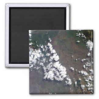 Plume rises from Nyiragongo Volcano in the DRC 2 Inch Square Magnet