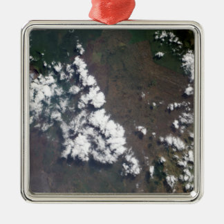 Plume rises from Nyiragongo Volcano in the DRC Square Metal Christmas Ornament