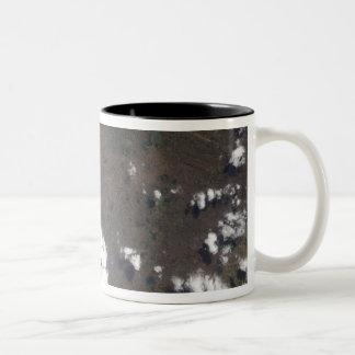 Plume rises from Nyiragongo Volcano in the DRC Two-Tone Coffee Mug