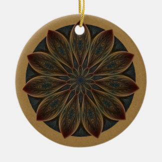 Plumed Petals Kaleidoscope Mandala Ceramic Ornament