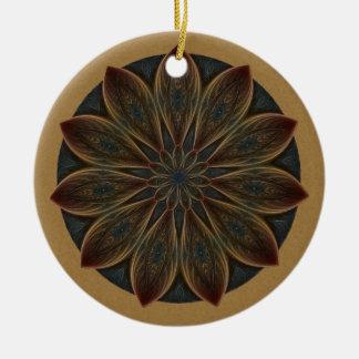 Plumed Petals Kaleidoscope Mandala Christmas Ornaments