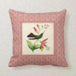 Plumeleteer Hummingbird Damask Pillow