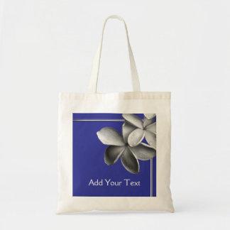 Plumeria azul y de plata bolsas