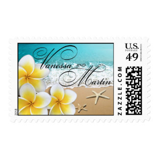 Plumeria Beach Tropical Destination Wedding Hawaii Stamp
