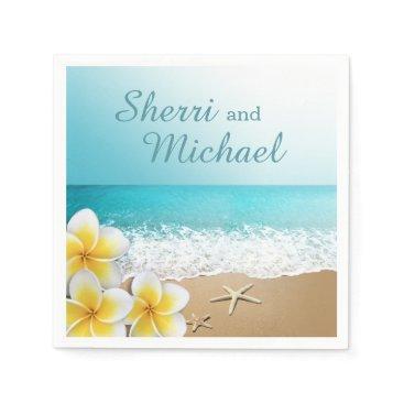 Beach Themed Plumeria Beach Tropical Island Wedding Napkin