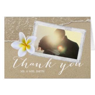 Plumeria Beach Wedding Photo Thank You Card