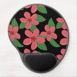 Plumeria Blossoms DEEP PINK on BLACK Gel Mouse Pad