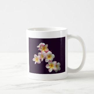 Plumeria blossoms on dark purple classic white coffee mug