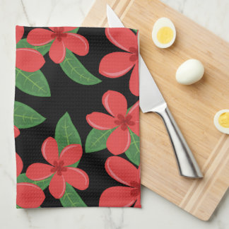 Plumeria Blossoms RED on BLACK Kitchen Towel