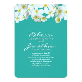 Plumeria Blue Green Floral Wedding Card