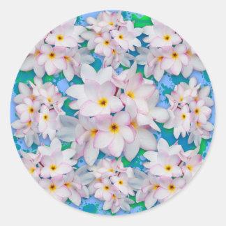 Plumeria Bouquet Exotic Summer Pattern Classic Round Sticker