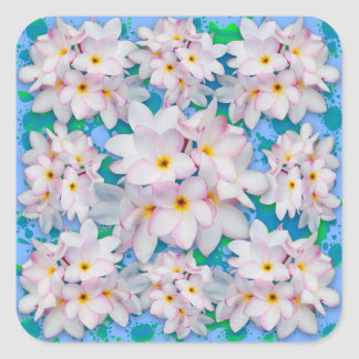 Plumeria Bouquet Exotic Summer Pattern Square Sticker