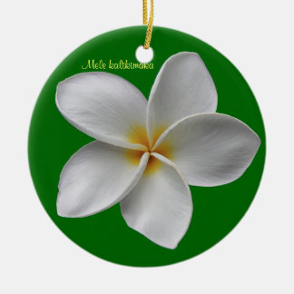 Plumeria Christmas Holiday Ornament