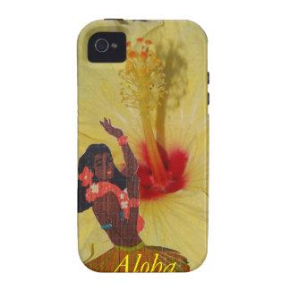 Plumeria del Hawaiian del bailarín de Hula iPhone 4 Carcasa