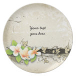 Plumeria del vintage/placa del beige del frangipan platos para fiestas
