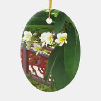 Plumeria Exotique Ceramic Ornament