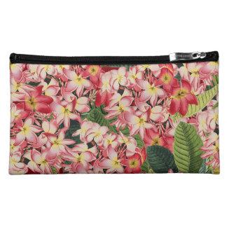 Plumeria Floral Botanical Flowers Sueded Bag Makeup Bags