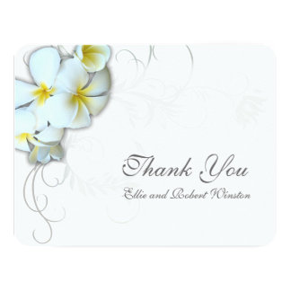 Plumeria Flourish Personalized Thank You Note Card