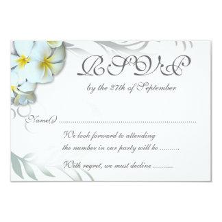 Plumeria Flourish RSVP Wedding Enclosure Card Invitation