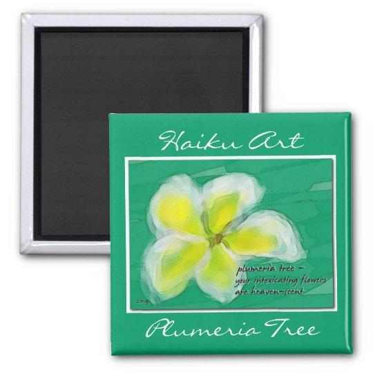 Plumeria Flower Haiku Art Magnet
