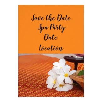 Plumeria flower in spa with candle light invitation