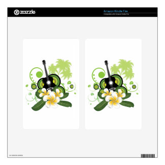 Plumeria flowers and guitar kindle fire skin