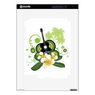 Plumeria flowers and guitar skin for iPad 2