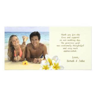 Plumeria Flowers Beach Wedding Photo Thank You Card