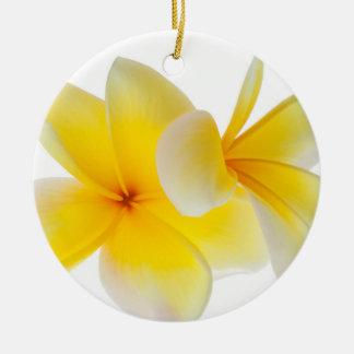 Plumeria Flowers Hawaiian White Yellow Frangipani Double-Sided Ceramic Round Christmas Ornament