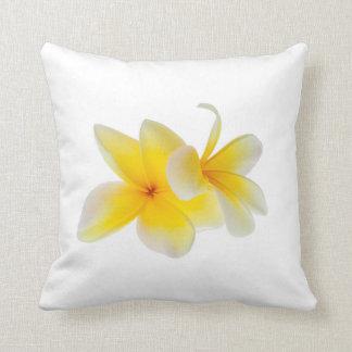 Plumeria Flowers Hawaiian White Yellow Frangipani Throw Pillows
